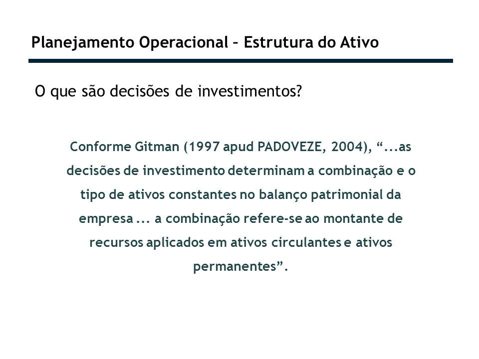 Planejamento Operacional – Estrutura do Ativo O que são decisões de investimentos? Conforme Gitman (1997 apud PADOVEZE, 2004),...as decisões de invest