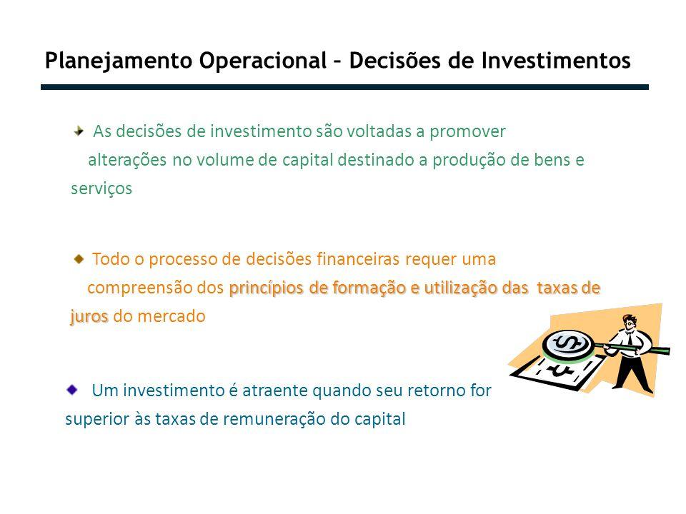 Planejamento Operacional – Decisões de Investimentos As decisões de investimento são voltadas a promover alterações no volume de capital destinado a p