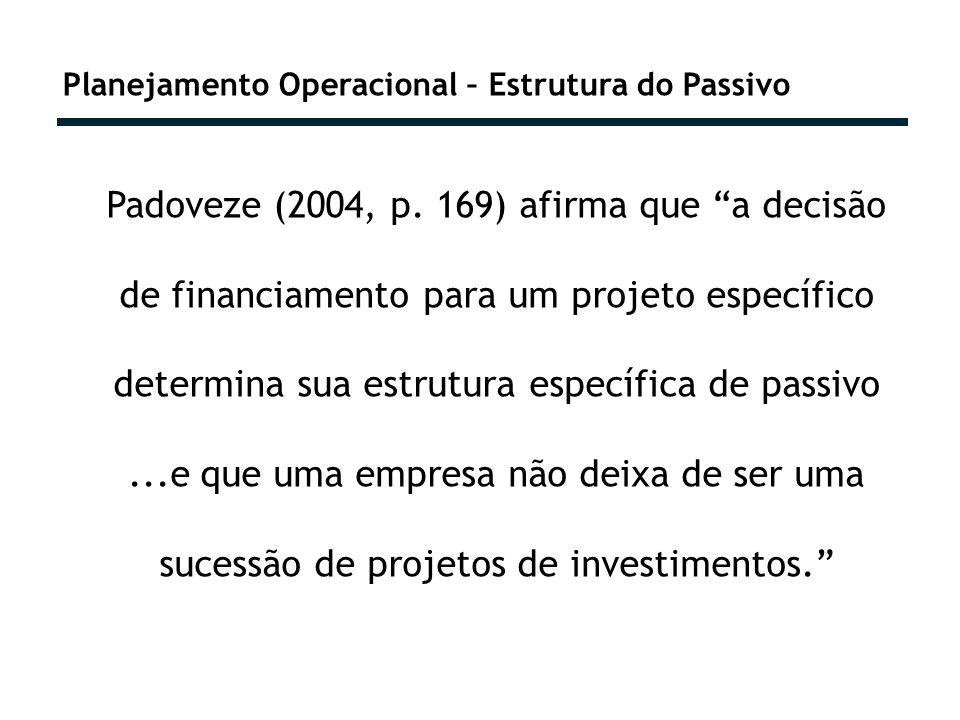 Planejamento Operacional – Estrutura do Passivo Padoveze (2004, p. 169) afirma que a decisão de financiamento para um projeto específico determina sua