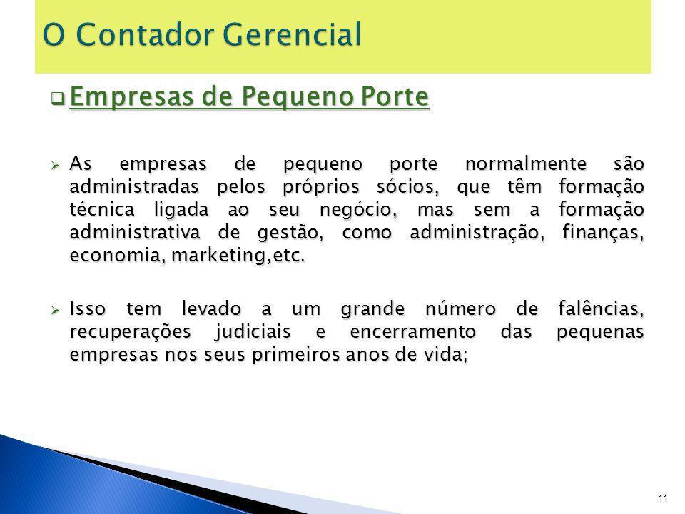 Empresas de Pequeno Porte Empresas de Pequeno Porte As empresas de pequeno porte normalmente são administradas pelos próprios sócios, que têm formação