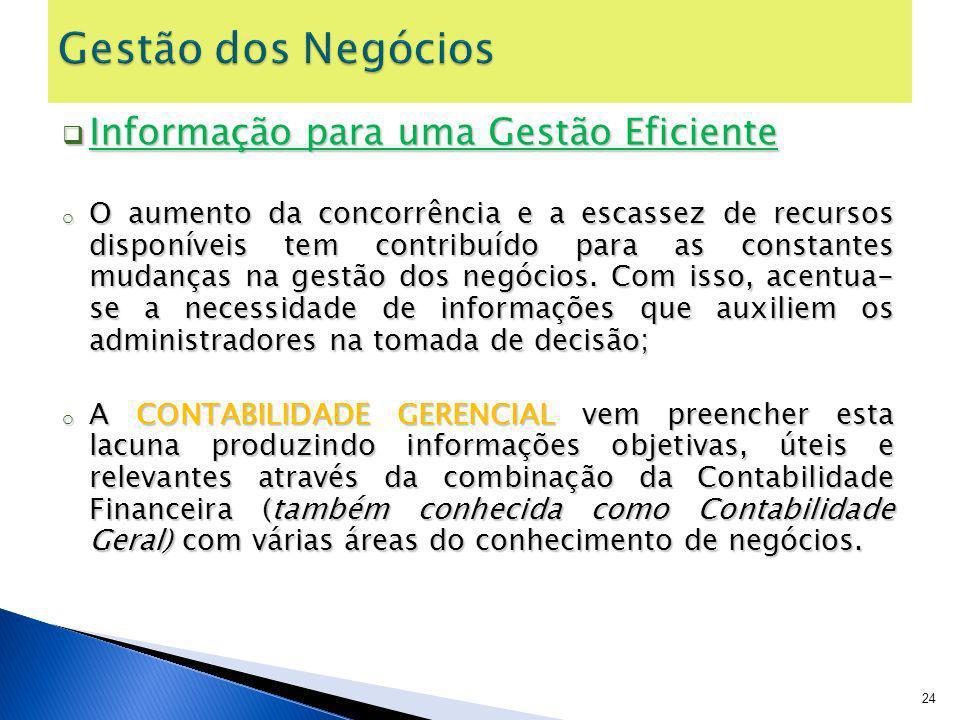 Informação para uma Gestão Eficiente Informação para uma Gestão Eficiente o O aumento da concorrência e a escassez de recursos disponíveis tem contrib
