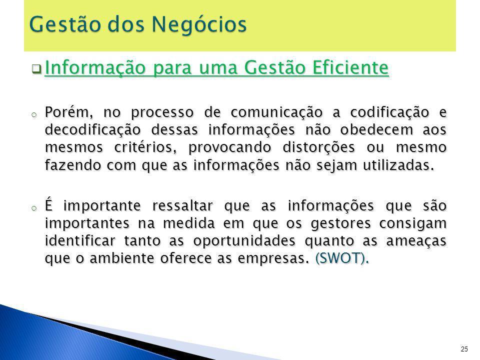Informação para uma Gestão Eficiente Informação para uma Gestão Eficiente o Porém, no processo de comunicação a codificação e decodificação dessas inf
