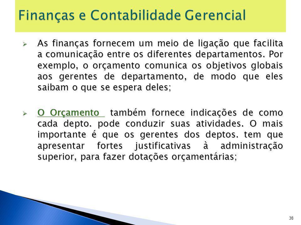 As finanças fornecem um meio de ligação que facilita a comunicação entre os diferentes departamentos. Por exemplo, o orçamento comunica os objetivos g