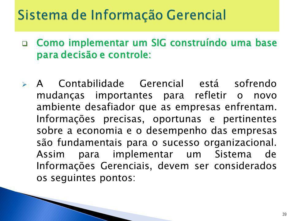 Como implementar um SIG construíndo uma base para decisão e controle: Como implementar um SIG construíndo uma base para decisão e controle: A Contabil
