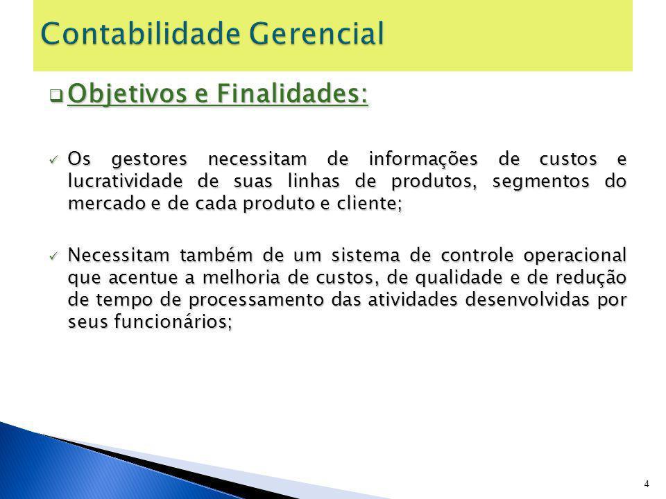 Objetivos e Finalidades: Objetivos e Finalidades: Os gestores necessitam de informações de custos e lucratividade de suas linhas de produtos, segmento
