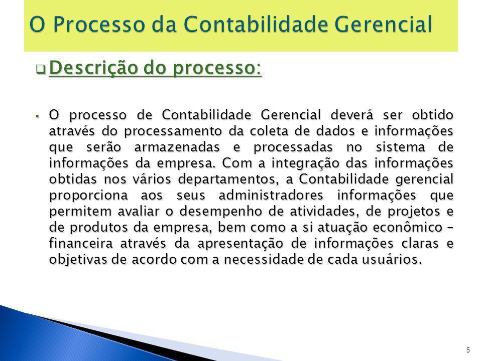 Descrição do processo: Descrição do processo: O processo de Contabilidade Gerencial deverá ser obtido através do processamento da coleta de dados e in