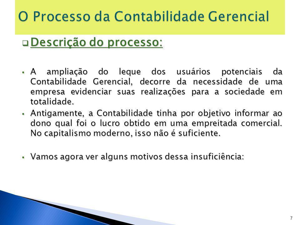 Descrição do processo: Descrição do processo: A ampliação do leque dos usuários potenciais da Contabilidade Gerencial, decorre da necessidade de uma e