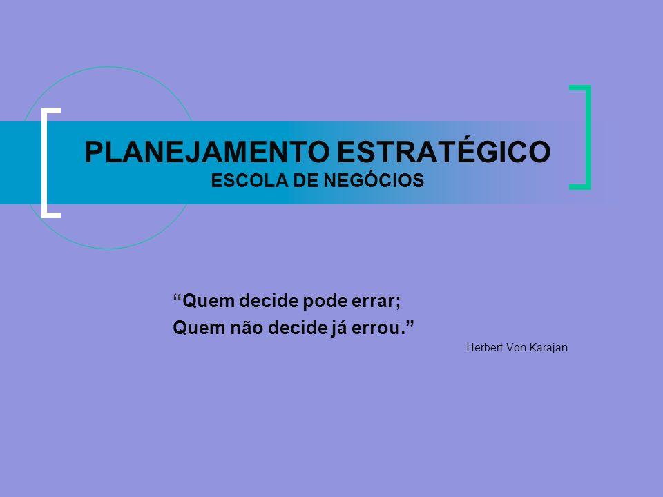 PLANEJAMENTO ESTRATÉGICO ESCOLA DE NEGÓCIOS Quem decide pode errar; Quem não decide já errou. Herbert Von Karajan