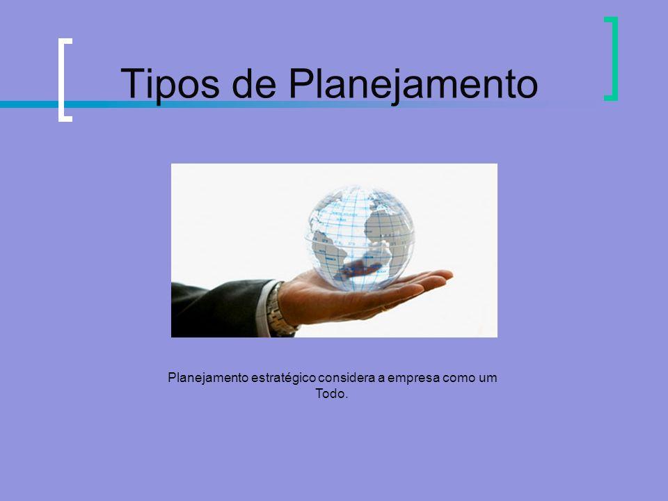 Tipos de Planejamento Planejamento estratégico considera a empresa como um Todo.