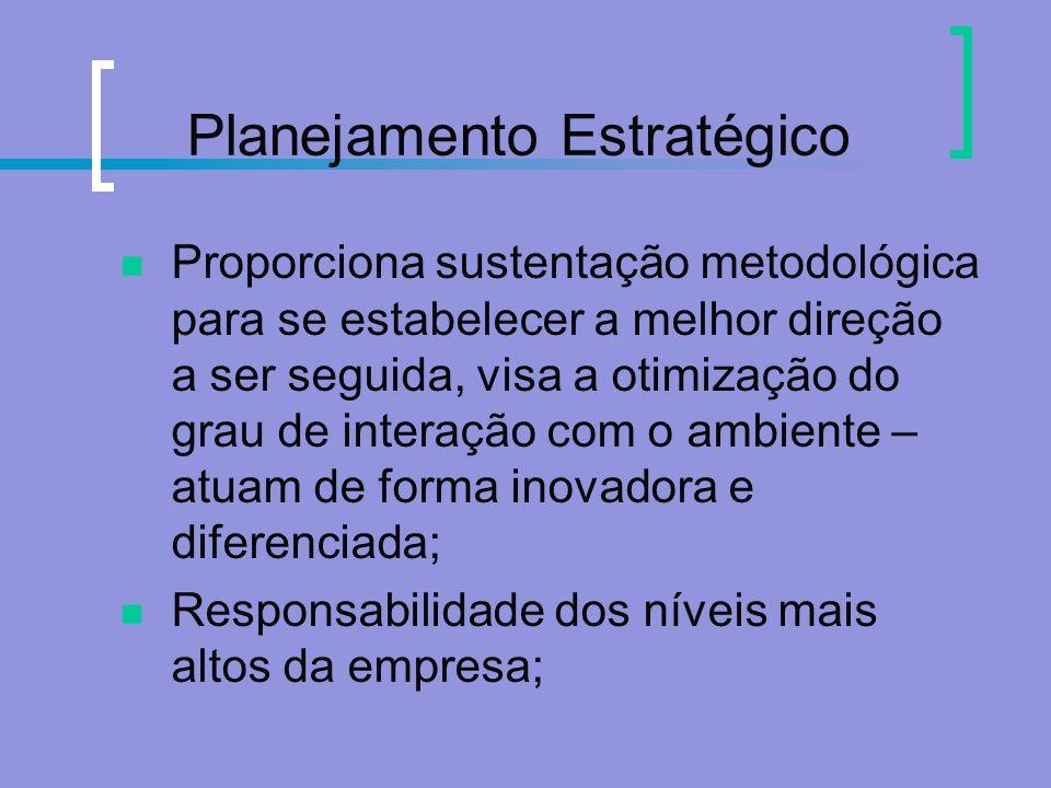 Planejamento Estratégico Proporciona sustentação metodológica para se estabelecer a melhor direção a ser seguida, visa a otimização do grau de interaç