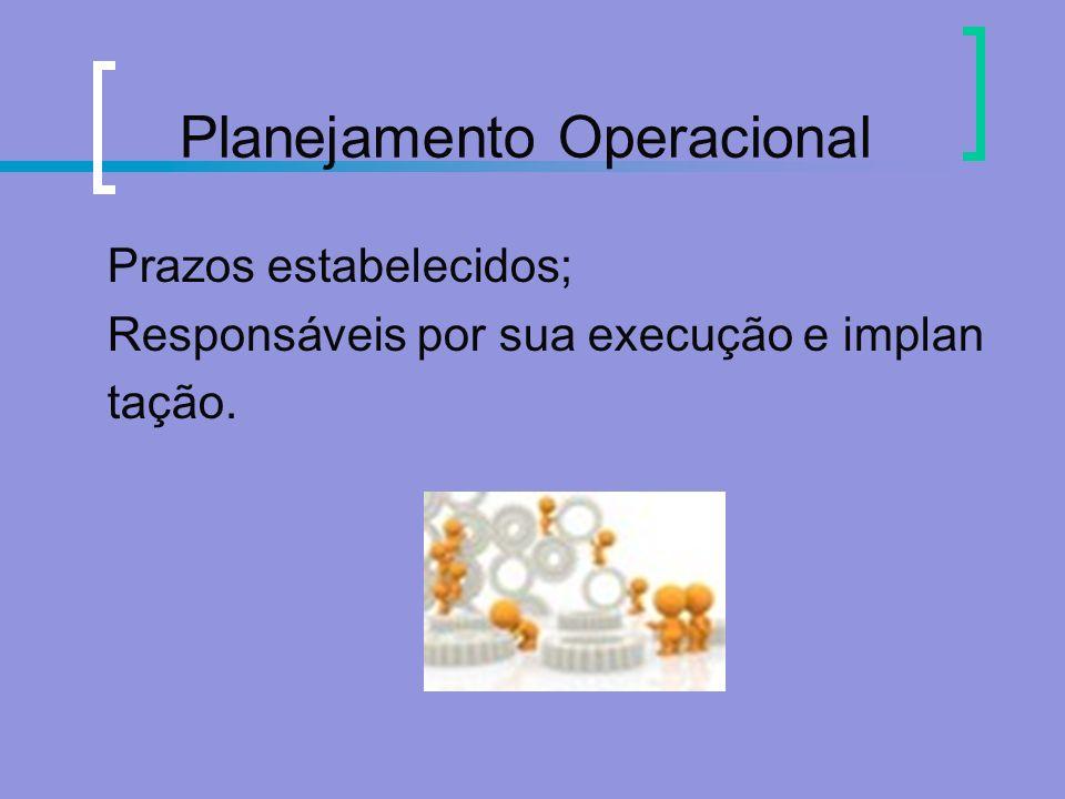 Planejamento Operacional Prazos estabelecidos; Responsáveis por sua execução e implan tação.