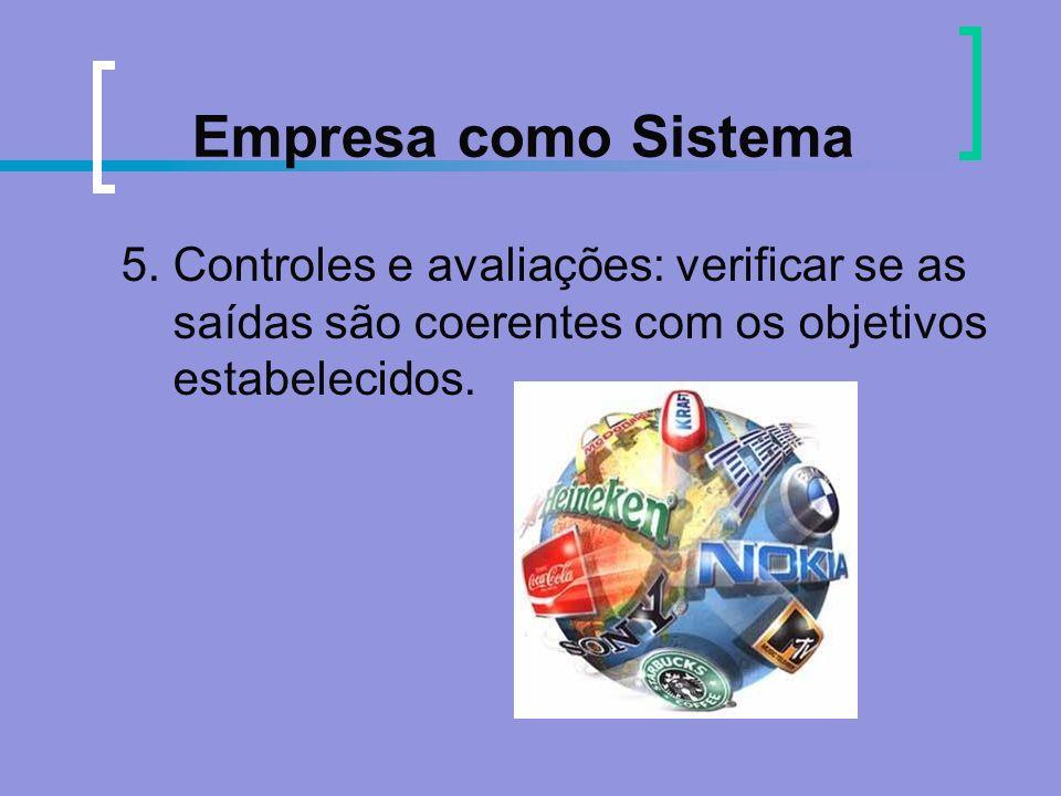 Empresa como Sistema 5. Controles e avaliações: verificar se as saídas são coerentes com os objetivos estabelecidos.