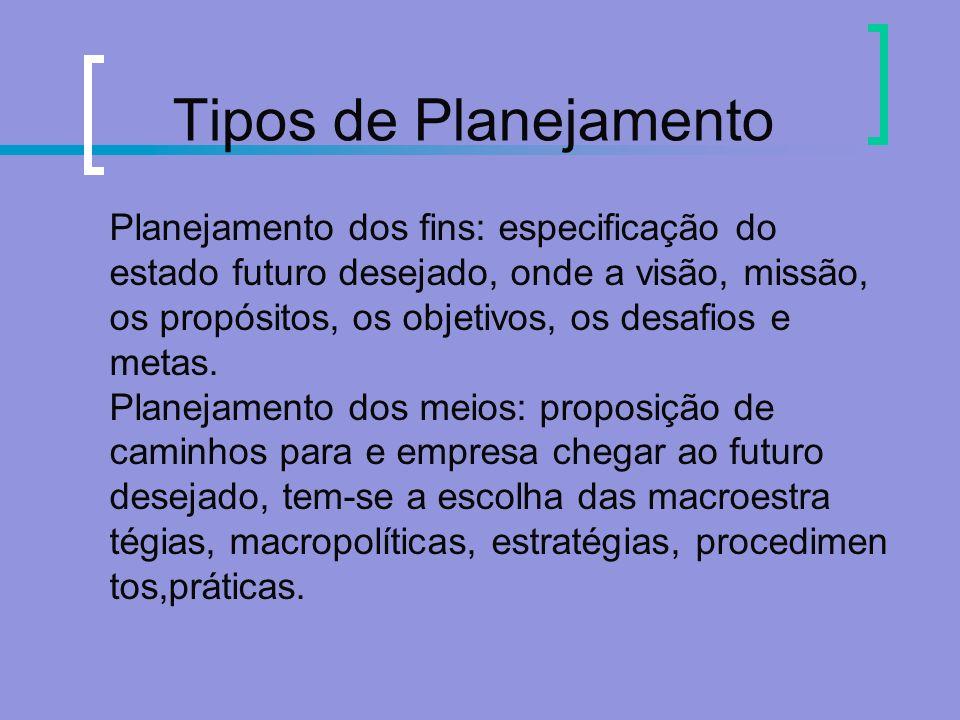 Tipos de Planejamento Planejamento dos fins: especificação do estado futuro desejado, onde a visão, missão, os propósitos, os objetivos, os desafios e