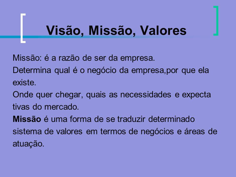 Visão, Missão, Valores Missão: é a razão de ser da empresa. Determina qual é o negócio da empresa,por que ela existe. Onde quer chegar, quais as neces