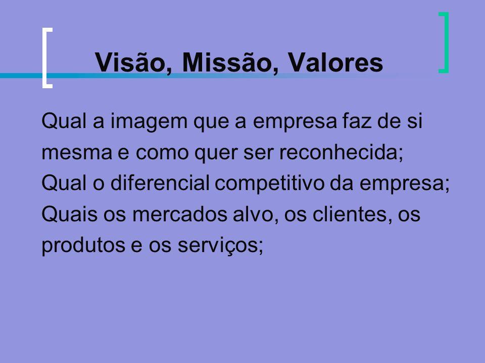 Visão, Missão, Valores Qual a imagem que a empresa faz de si mesma e como quer ser reconhecida; Qual o diferencial competitivo da empresa; Quais os me
