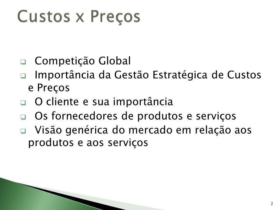 2 Competição Global Importância da Gestão Estratégica de Custos e Preços O cliente e sua importância Os fornecedores de produtos e serviços Visão gené