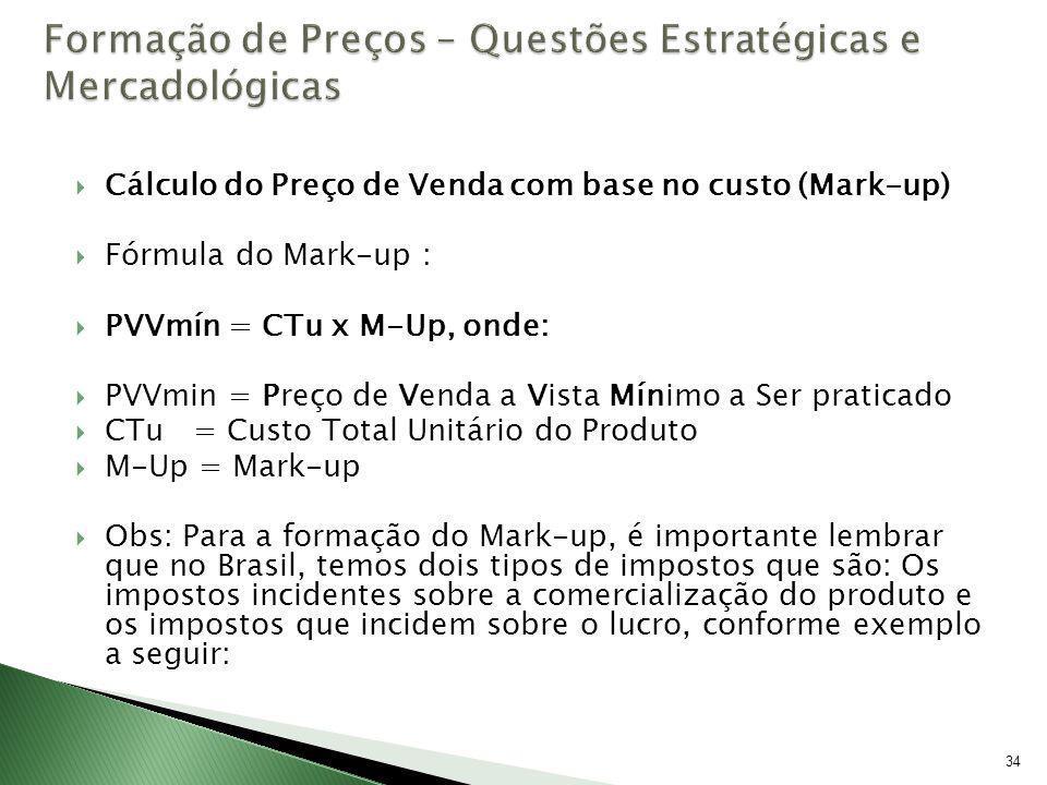 34 Cálculo do Preço de Venda com base no custo (Mark-up) Fórmula do Mark-up : PVVmín = CTu x M-Up, onde: PVVmin = Preço de Venda a Vista Mínimo a Ser