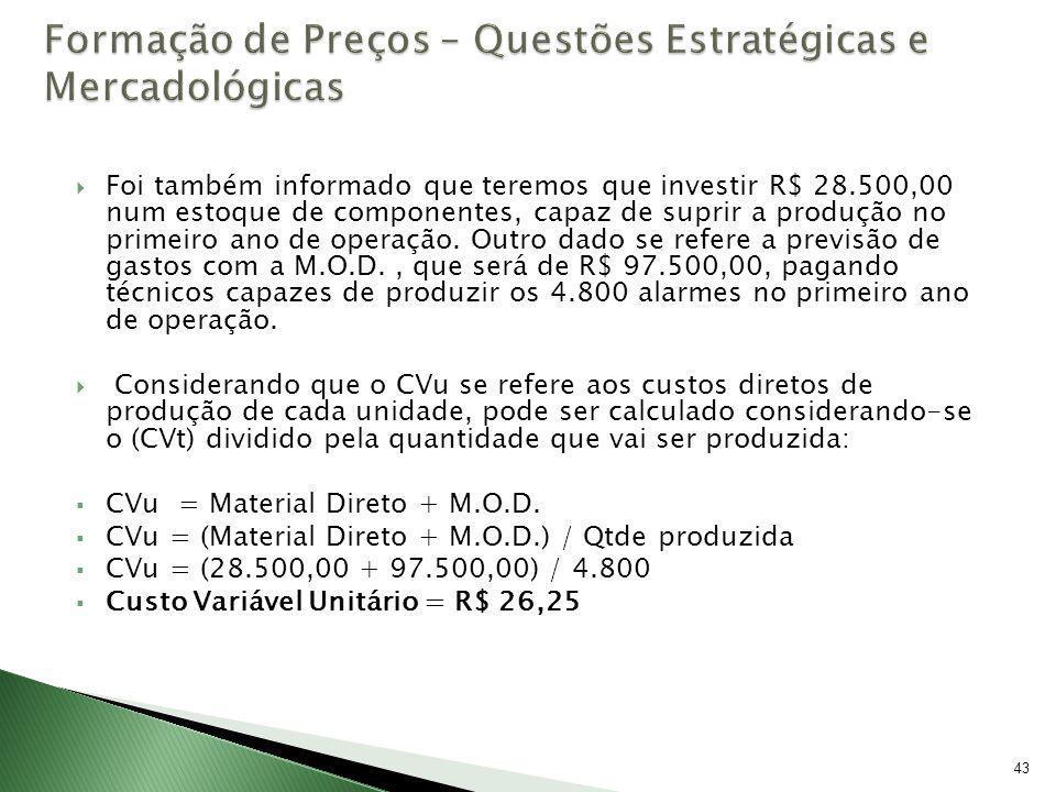 43 Foi também informado que teremos que investir R$ 28.500,00 num estoque de componentes, capaz de suprir a produção no primeiro ano de operação. Outr