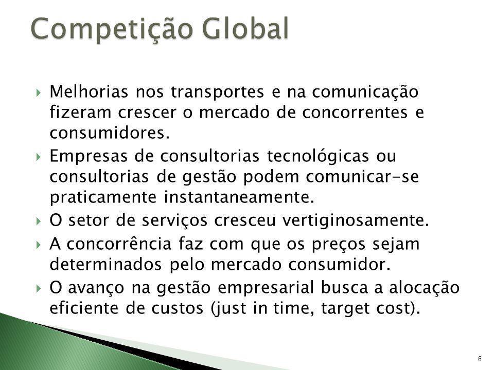 6 Melhorias nos transportes e na comunicação fizeram crescer o mercado de concorrentes e consumidores. Empresas de consultorias tecnológicas ou consul