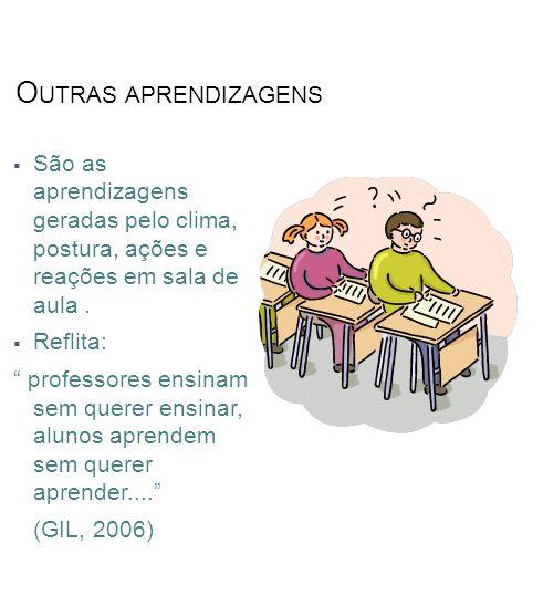 O UTRAS APRENDIZAGENS São as aprendizagens geradas pelo clima, postura, ações e reações em sala de aula.
