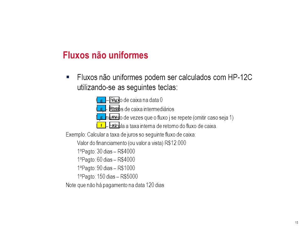 Fluxos não uniformes Fluxos não uniformes podem ser calculados com HP-12C utilizando-se as seguintes teclas: CF0 – Fluxo de caixa na data 0 CFj – Flux