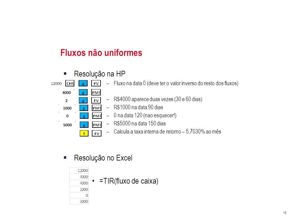 Fluxos não uniformes Resolução na HP –Fluxo na data 0 (deve ter o valor inverso do resto dos fluxos) –R$4000 aparece duas vezes (30 e 60 dias) –R$1000