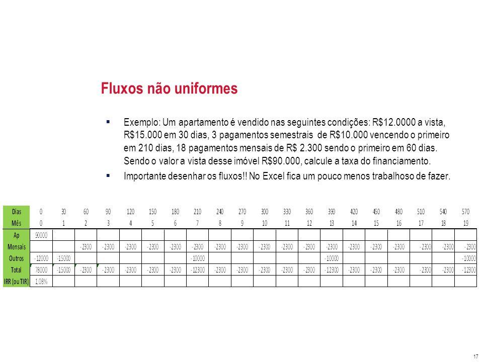 Fluxos não uniformes Exemplo: Um apartamento é vendido nas seguintes condições: R$12.0000 a vista, R$15.000 em 30 dias, 3 pagamentos semestrais de R$1