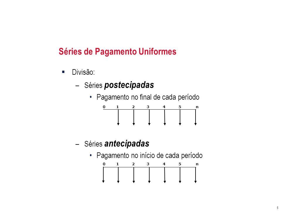 Séries de Pagamento Uniformes 5 Divisão: –Séries postecipadas Pagamento no final de cada período –Séries antecipadas Pagamento no início de cada perío
