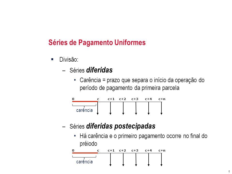 Séries de Pagamento Uniformes 6 Divisão: –Séries diferidas Carência = prazo que separa o início da operação do período de pagamento da primeira parcel