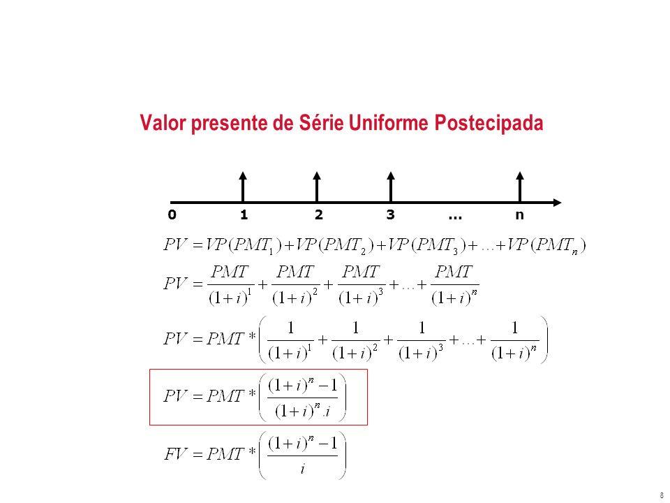 Valor presente de Série Uniforme Postecipada 8 0 1 2 3... n