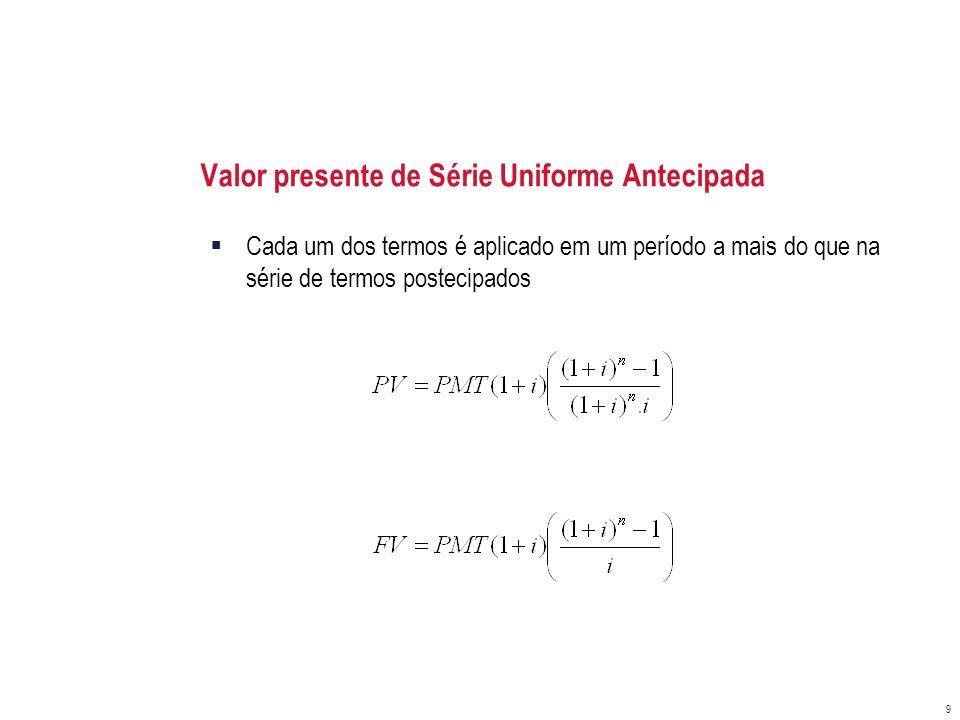 Valor presente de Série Uniforme Antecipada Cada um dos termos é aplicado em um período a mais do que na série de termos postecipados 9