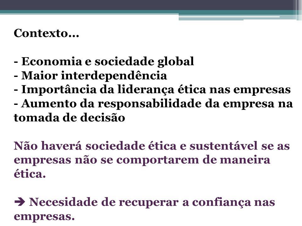 Contexto... - Economia e sociedade global - Maior interdependência - Importância da liderança ética nas empresas - Aumento da responsabilidade da empr