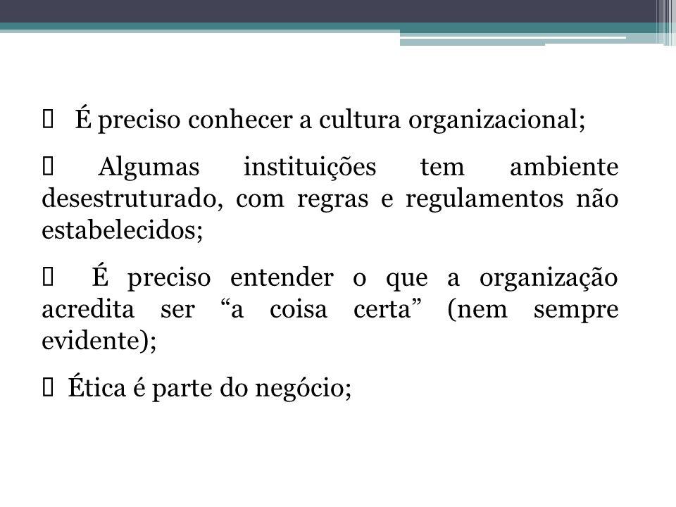 É preciso conhecer a cultura organizacional; Algumas instituições tem ambiente desestruturado, com regras e regulamentos não estabelecidos; É preciso