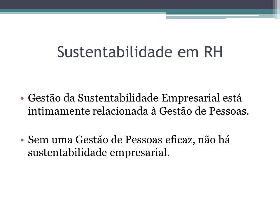 Sustentabilidade em RH Gestão da Sustentabilidade Empresarial está intimamente relacionada à Gestão de Pessoas. Sem uma Gestão de Pessoas eficaz, não