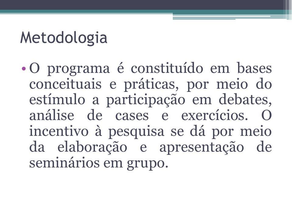 Metodologia O programa é constituído em bases conceituais e práticas, por meio do estímulo a participação em debates, análise de cases e exercícios. O