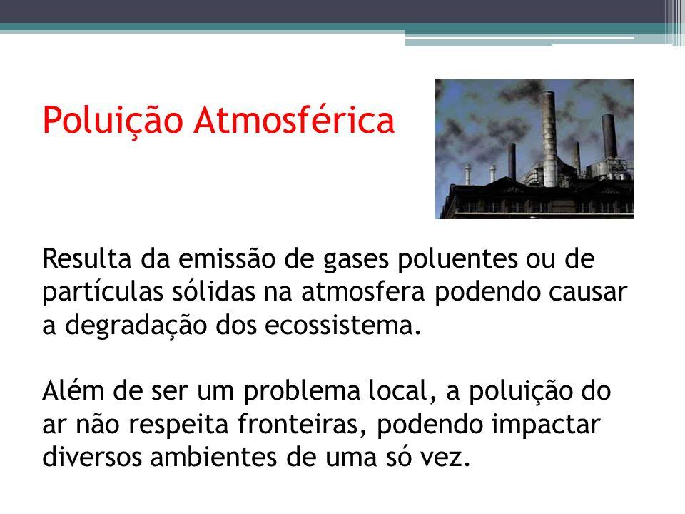 Poluição Atmosférica Resulta da emissão de gases poluentes ou de partículas sólidas na atmosfera podendo causar a degradação dos ecossistema. Além de