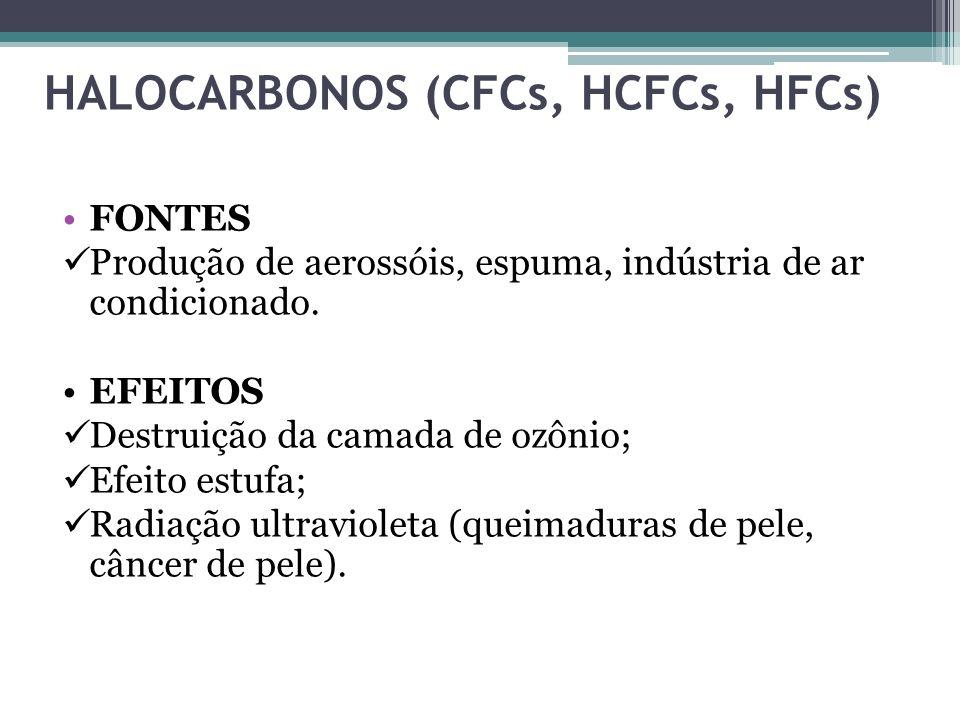 HALOCARBONOS (CFCs, HCFCs, HFCs) FONTES Produção de aerossóis, espuma, indústria de ar condicionado. EFEITOS Destruição da camada de ozônio; Efeito es
