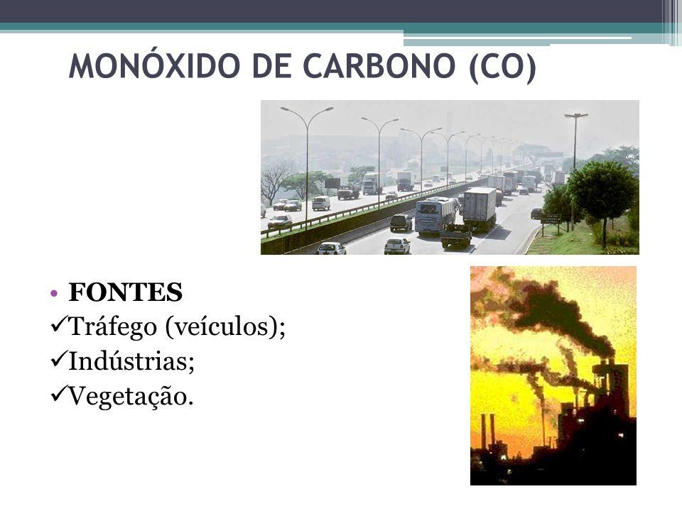 MONÓXIDO DE CARBONO (CO) FONTES Tráfego (veículos); Indústrias; Vegetação.