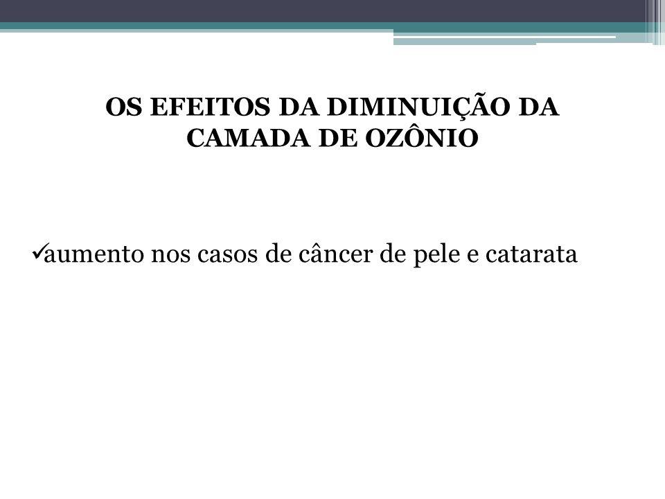 OS EFEITOS DA DIMINUIÇÃO DA CAMADA DE OZÔNIO aumento nos casos de câncer de pele e catarata