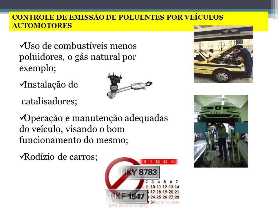 CONTROLE DE EMISSÃO DE POLUENTES POR VEÍCULOS AUTOMOTORES Uso de combustíveis menos poluidores, o gás natural por exemplo; Instalação de catalisadores