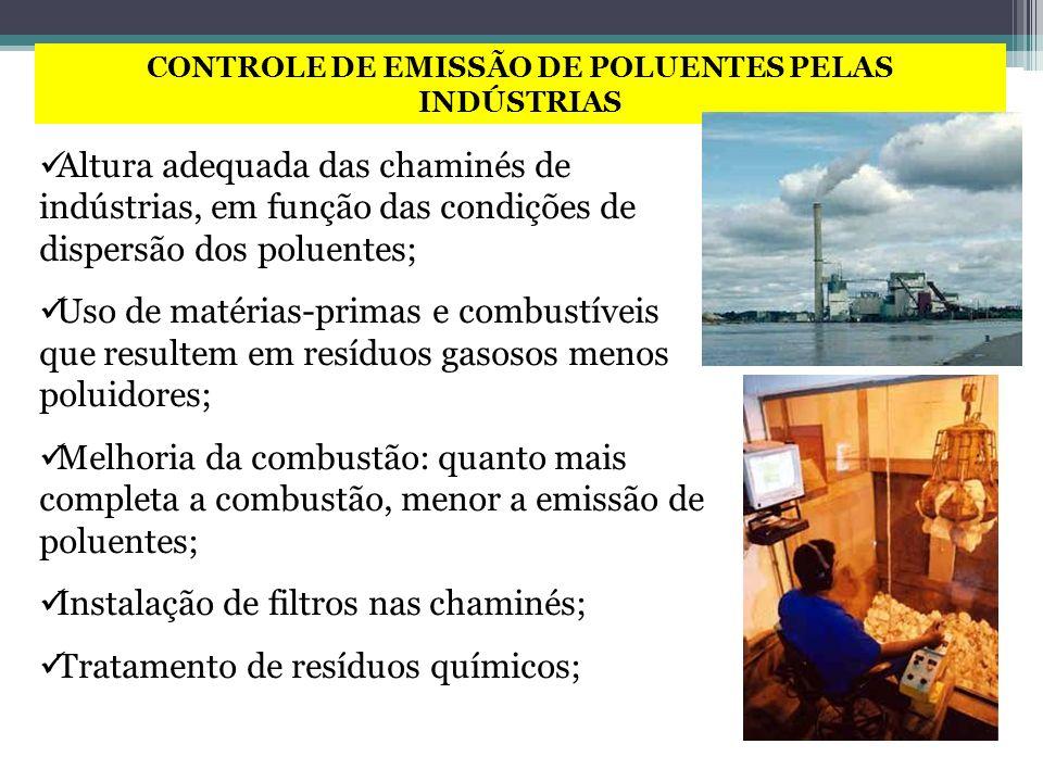 CONTROLE DE EMISSÃO DE POLUENTES PELAS INDÚSTRIAS Altura adequada das chaminés de indústrias, em função das condições de dispersão dos poluentes; Uso