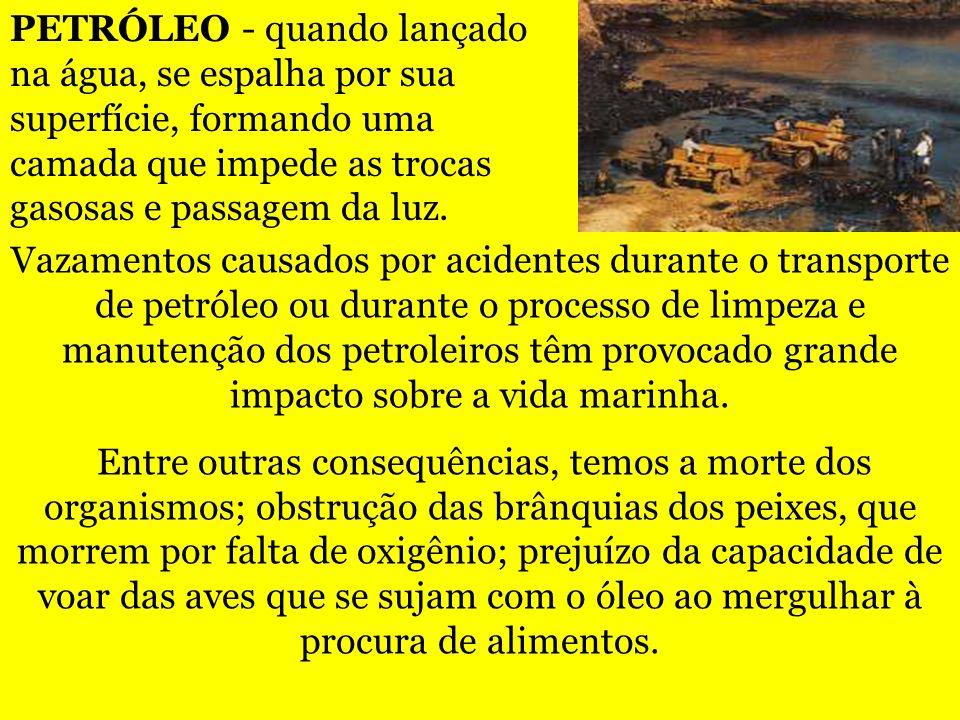Vazamentos causados por acidentes durante o transporte de petróleo ou durante o processo de limpeza e manutenção dos petroleiros têm provocado grande