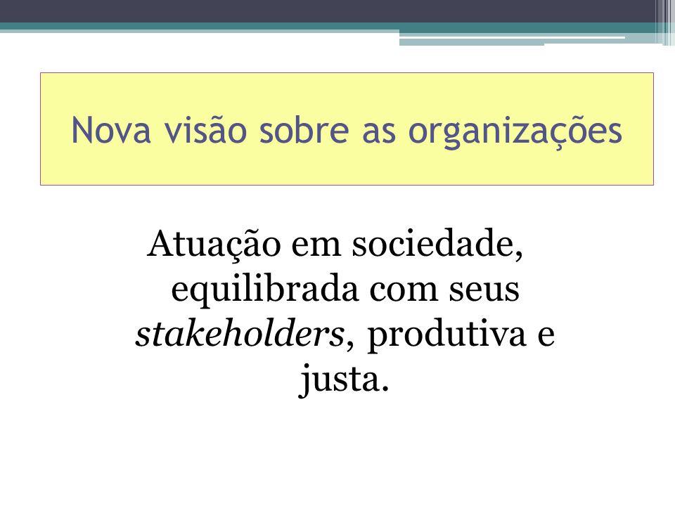 Nova visão sobre as organizações Atuação em sociedade, equilibrada com seus stakeholders, produtiva e justa.