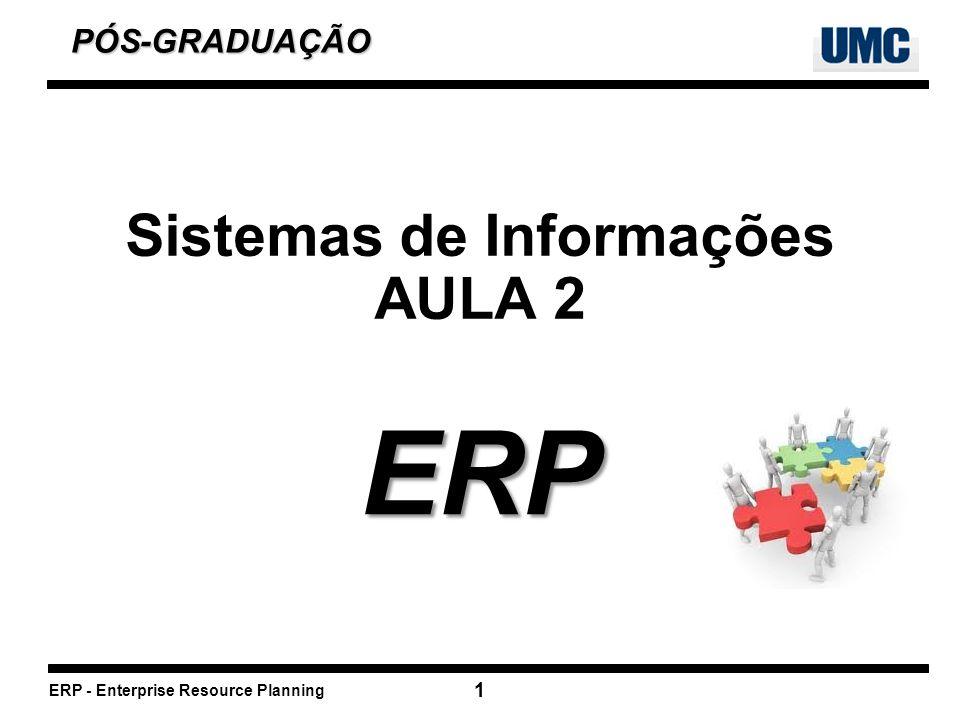 ERP - Enterprise Resource Planning 1 Sistemas de Informações AULA 2 ERP PÓS-GRADUAÇÃO PÓS-GRADUAÇÃO