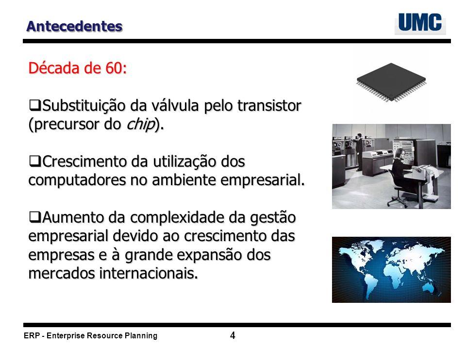 ERP - Enterprise Resource Planning 4 Antecedentes Década de 60: Substituição da válvula pelo transistor (precursor do chip).