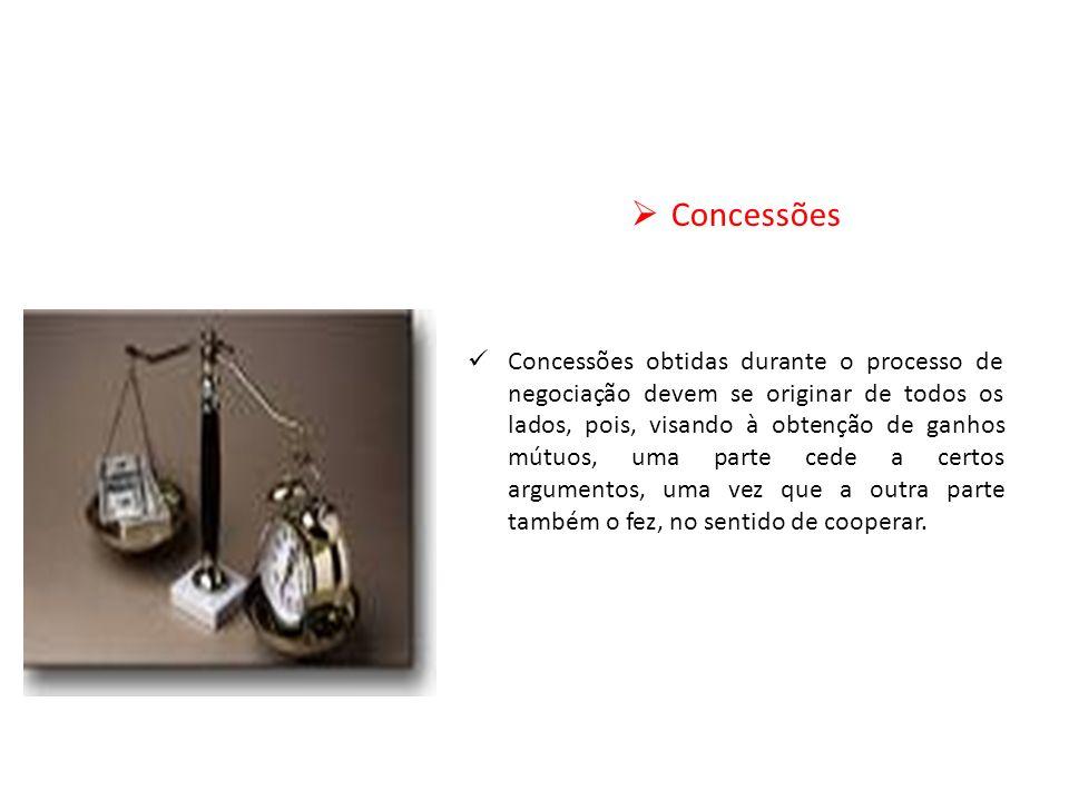 Concessões Concessões obtidas durante o processo de negociação devem se originar de todos os lados, pois, visando à obtenção de ganhos mútuos, uma par