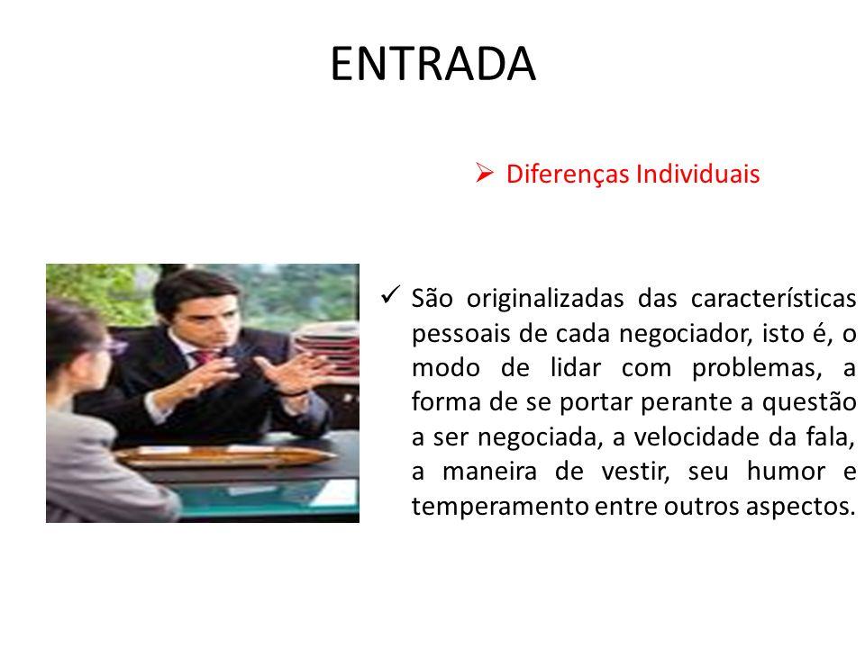 ENTRADA Diferenças Individuais São originalizadas das características pessoais de cada negociador, isto é, o modo de lidar com problemas, a forma de s