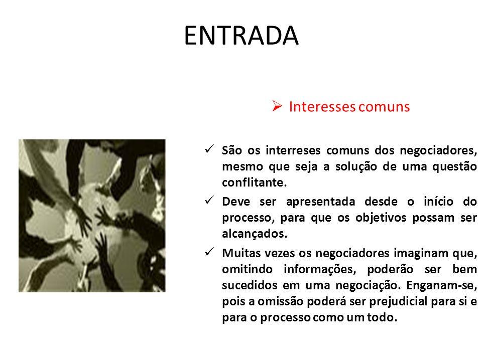 ENTRADA Interesses comuns São os interreses comuns dos negociadores, mesmo que seja a solução de uma questão conflitante. Deve ser apresentada desde o