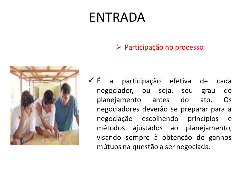ENTRADA Participação no processo É a participação efetiva de cada negociador, ou seja, seu grau de planejamento antes do ato. Os negociadores deverão