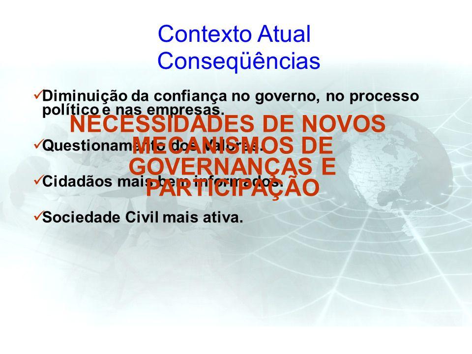 Contexto Atual Conseqüências Diminuição da confiança no governo, no processo político e nas empresas. Questionamento dos Valores. Cidadãos mais bem in